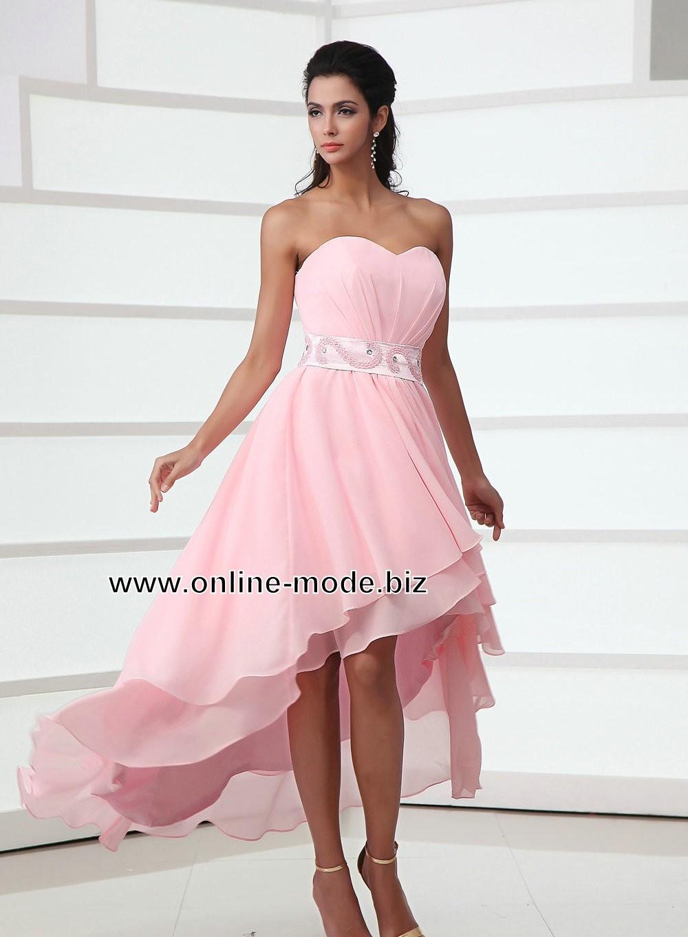 Rosa Vokuhila Abendkleid mit Corsage  Vokuhila abendkleid