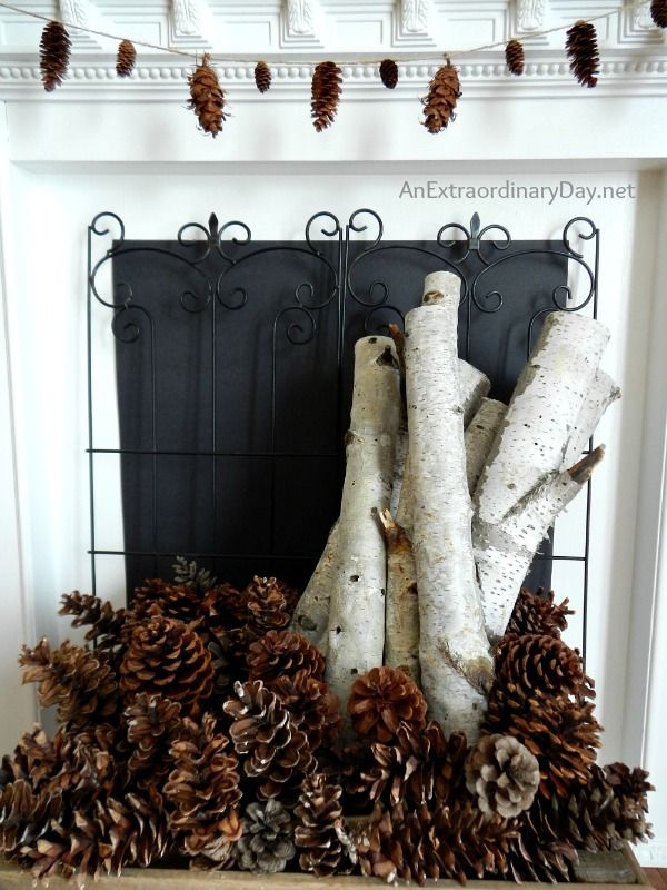 fireplace pine cones