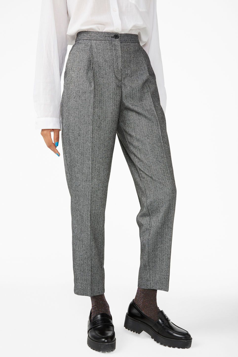 487bc70cadc5 H&M Wide-cut Jersey Pants - Black | s/s 2018 list of blatant materalism |  Pants, Black pants, Checked trousers