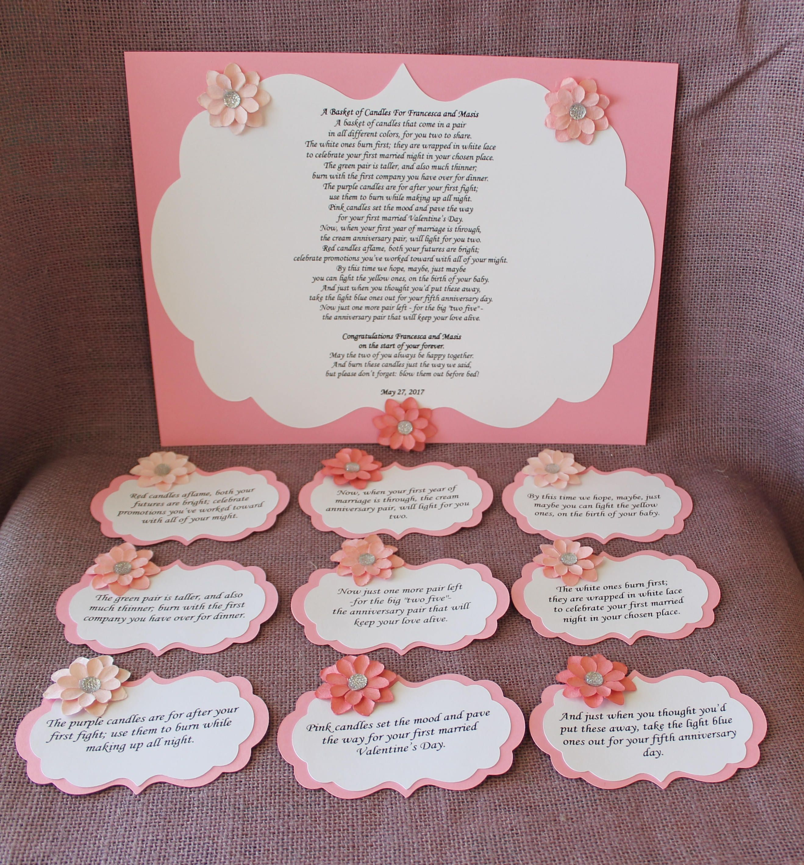 Wedding Shower Candle Poem Pink And Cream Tag Set. Bridal