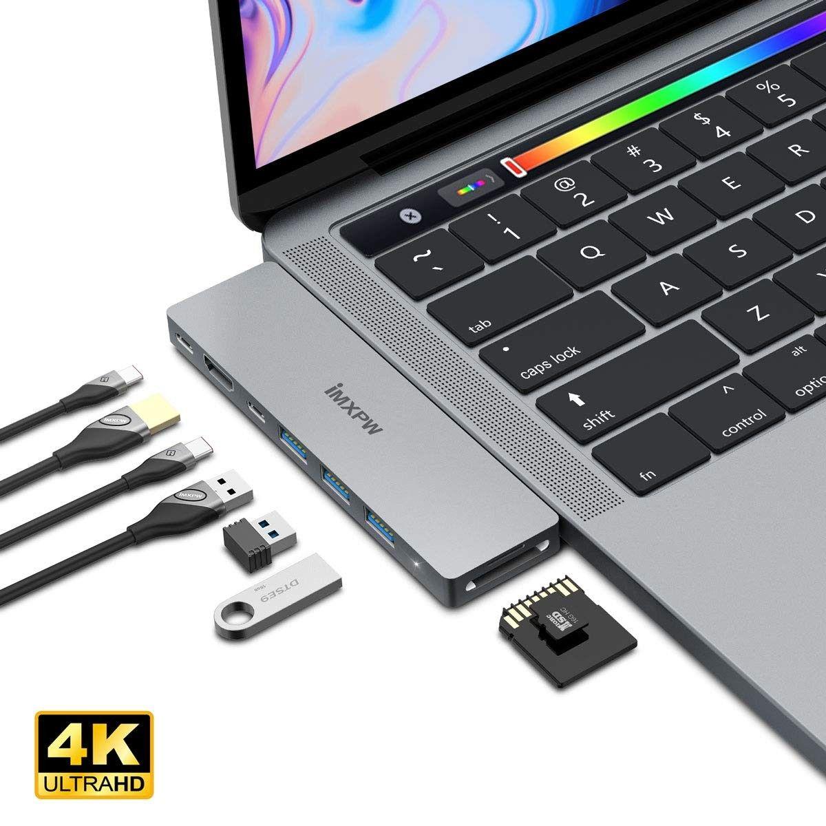 Usb C Hub Imxpw 8 In 1 Usb C Hub Adapter With 4k Hdmi Thunderbolt 3 3 Usb 3 0 Usb C Data Port Etc Macbook Pro 2017 Hdmi Usb