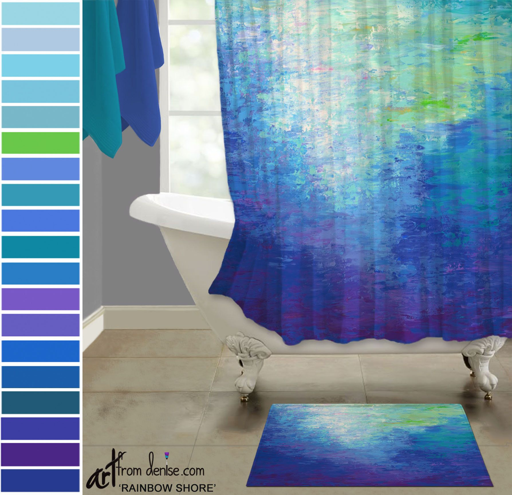 Colorful Shower Curtain And Bath Mat Set Modern Blue Purple Green Abstract Fabric Shower Stall Rug Bathroom Decor In 2021 Colorful Shower Curtain Blue Bathroom Decor Bath Mat Sets [ 1731 x 1788 Pixel ]