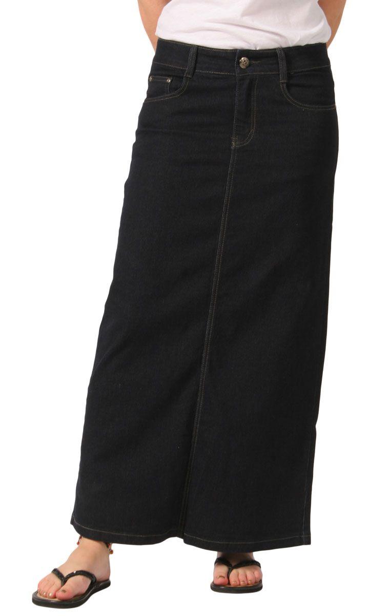 Plus size long denim Skirt