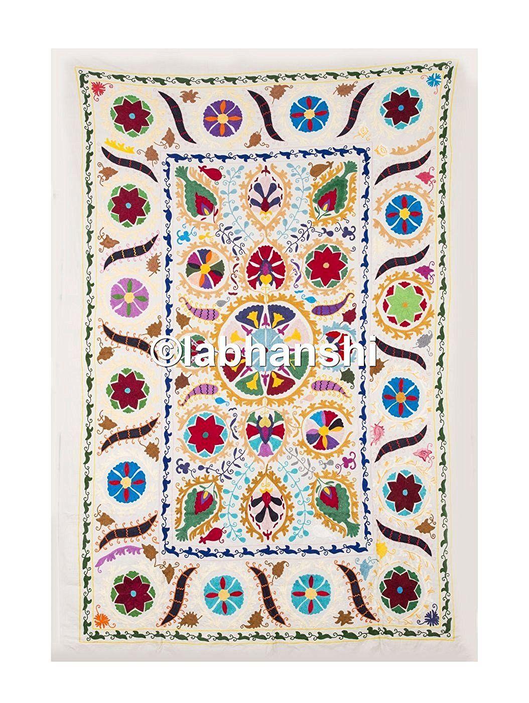 amazon fr couvre lit Vintage soie tissu antique Suzani Tapisserie Couvre lit double Lit  amazon fr couvre lit