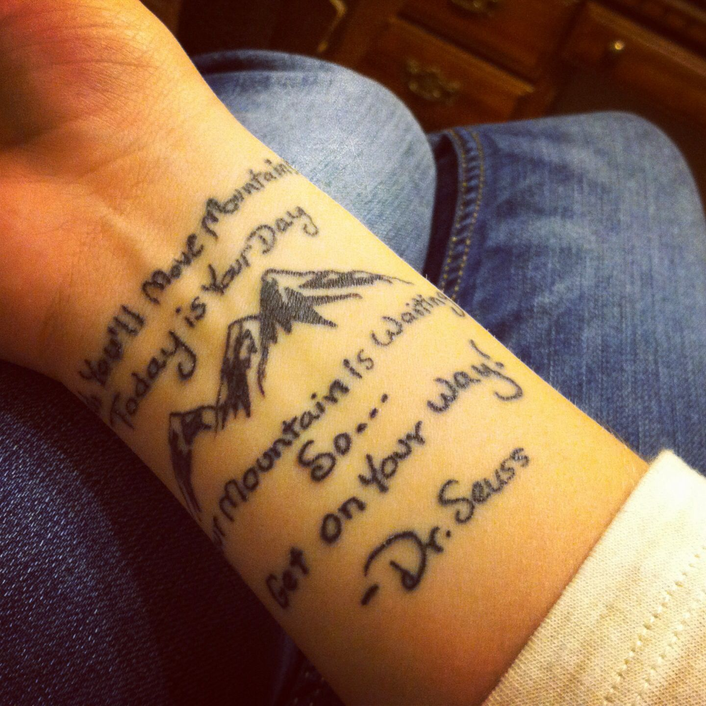 Quote Modznrockers Blackpool Quote Script Tree: Dr. Seuss Tattoo With Mountains. Love My Tattoo.