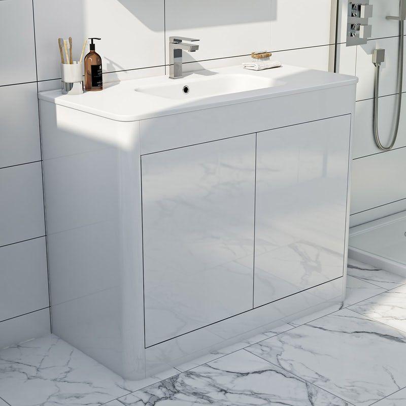 Mode Carter White Floorstanding Vanity Unit And Ceramic Basin