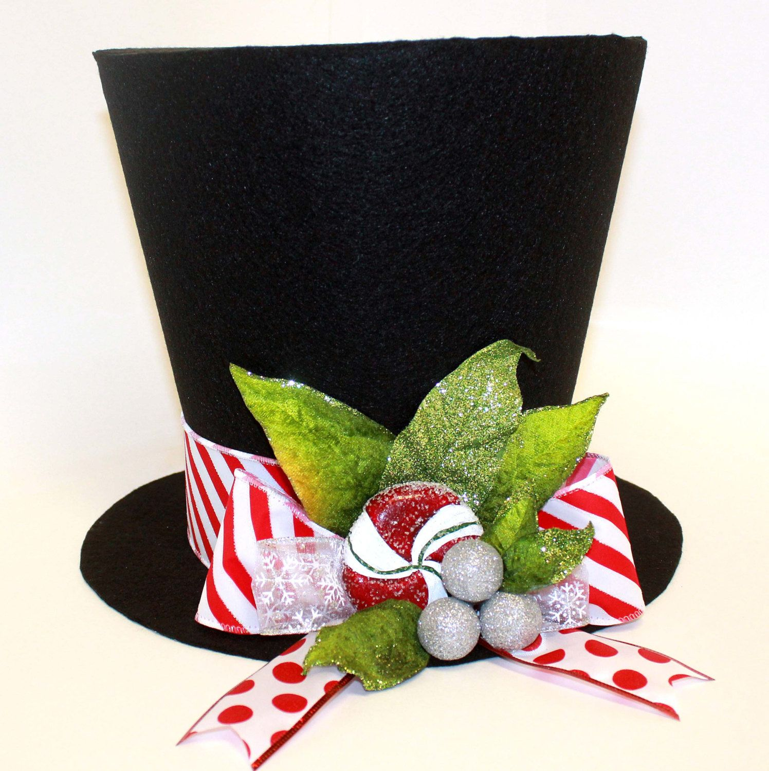 9 Inch Top Hat Christmas Hat Candy Cane Christmas By