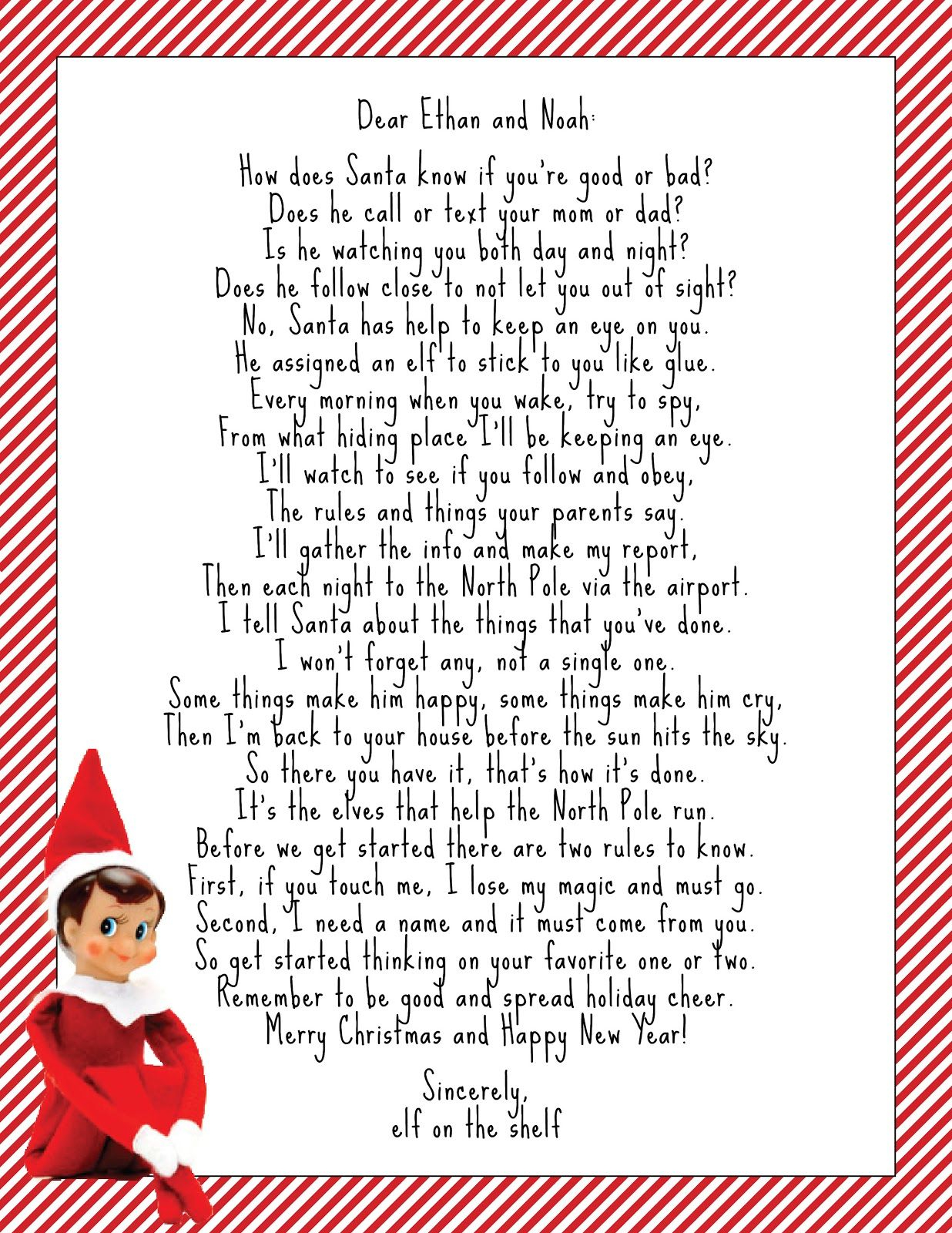 elf on the shelf letter Google Search Elf on