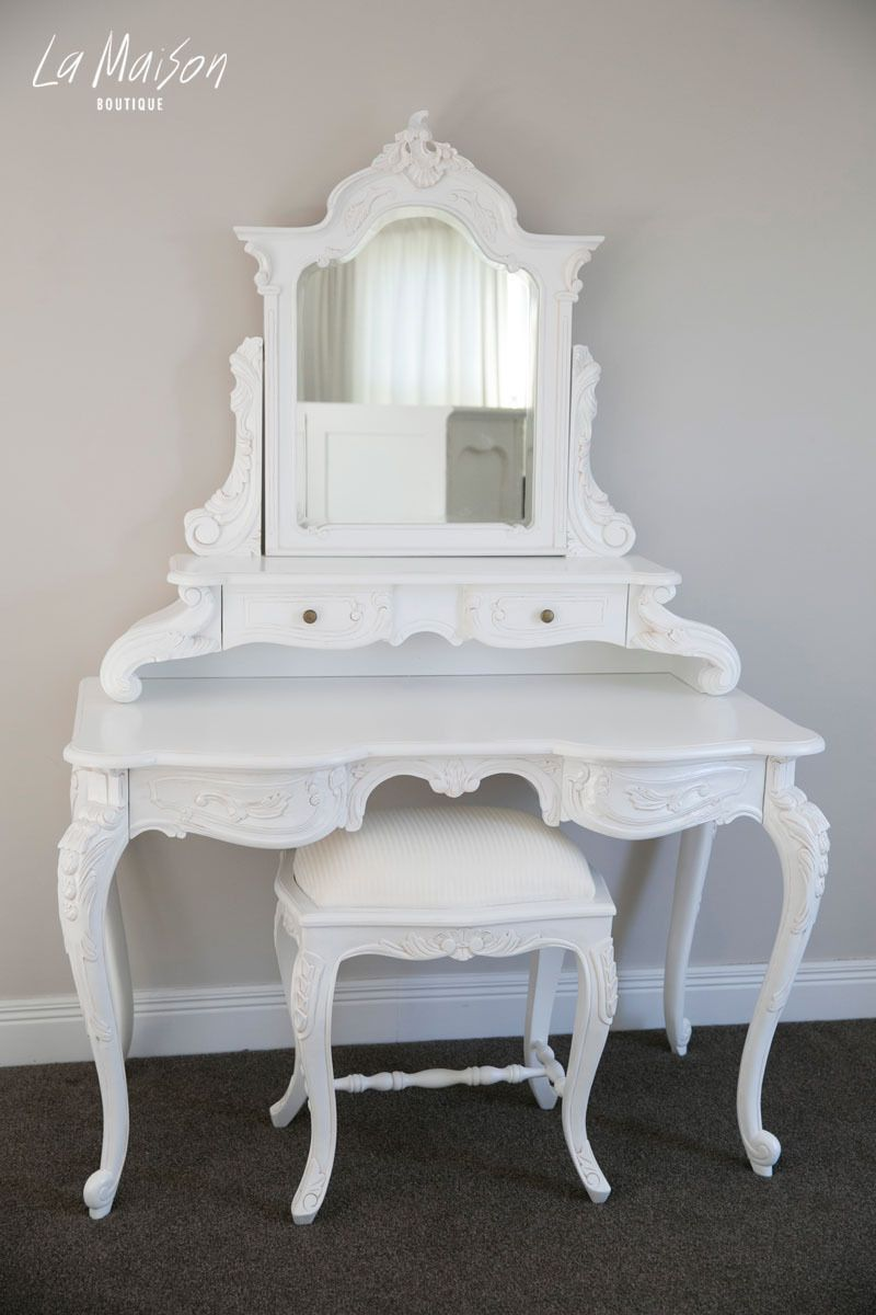 White Bedroom Furniture Nz pre order: provençal louis dressing table - white | mirror bed