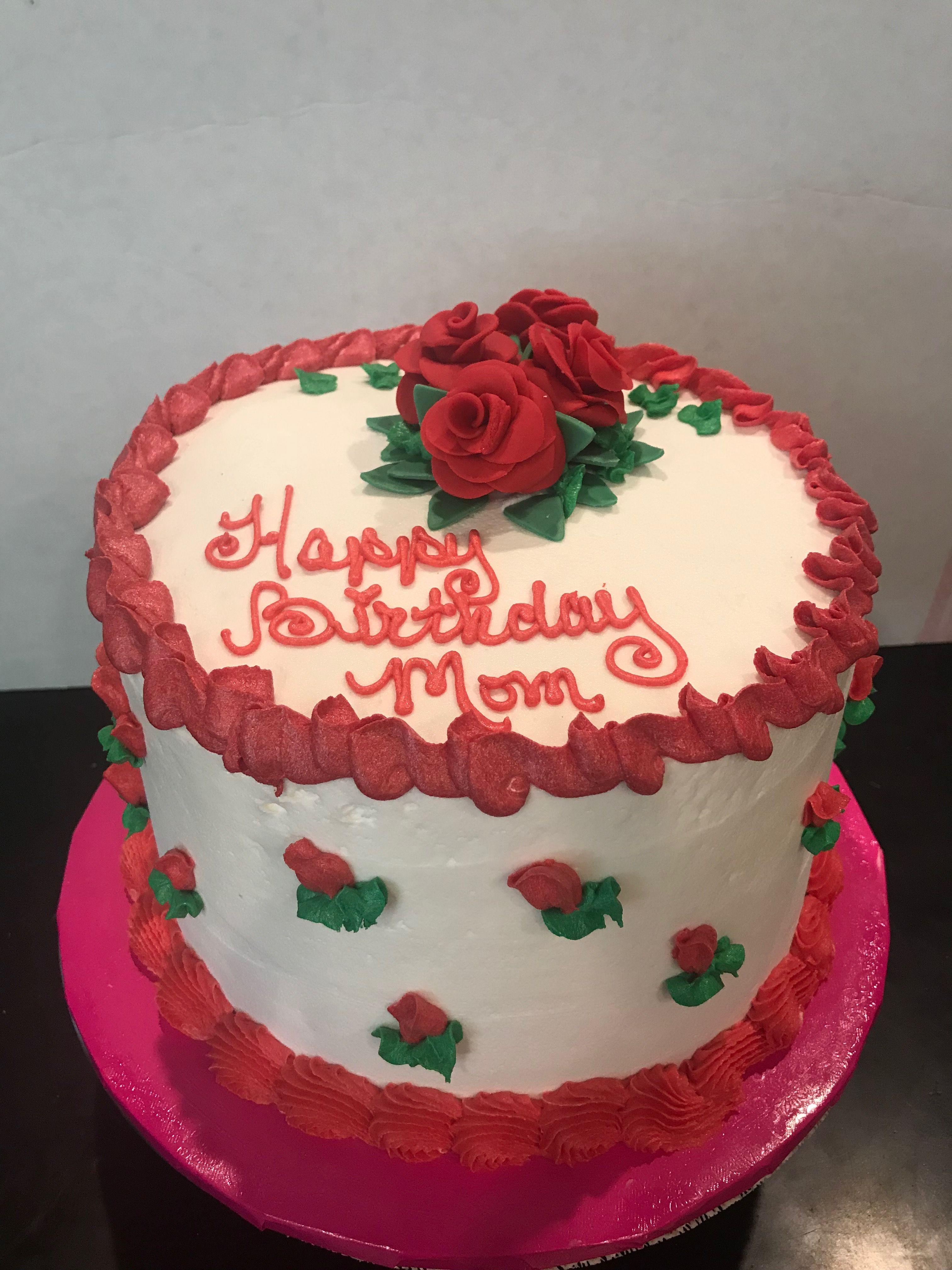 June 24 2018 Red Roses Ice Cream Cake Happy Birthday Mom