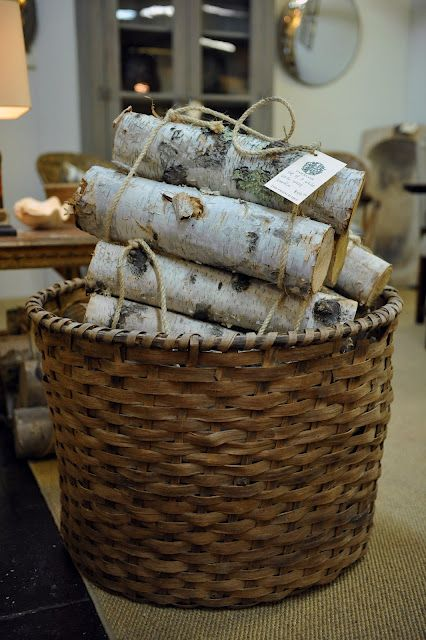 Birch Logs Would Be Beautiful In Basket Sitting Next To