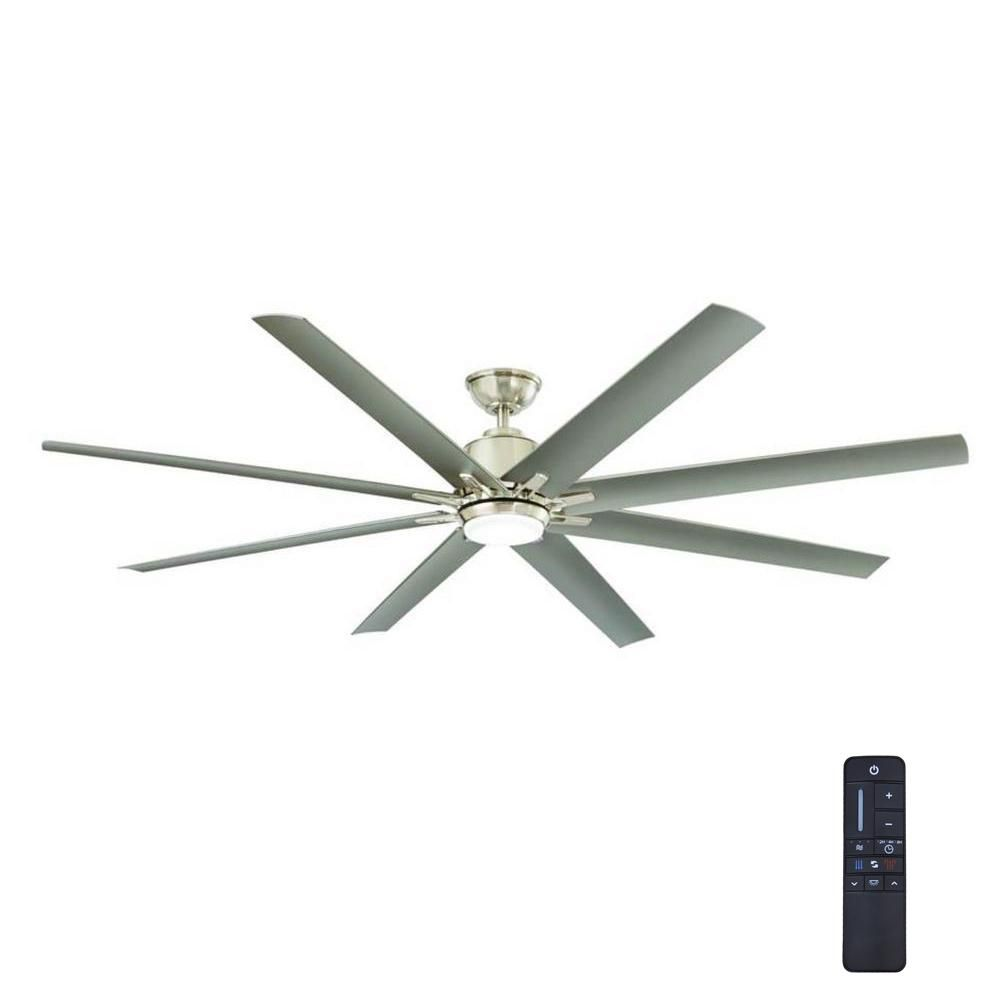 Home Decorators Collection Kensgrove 72 In Integrated Led Indoor Outdoor Brushed Nickel Ceiling Fan With Light Kit And Remote Control Yg493od Bn Brushed Nickel