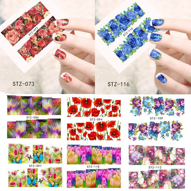 1sheets Optional Flower New Beauty Nail Art Water Transfer Nail Sticker Nail  Art Decorations Foils Polish