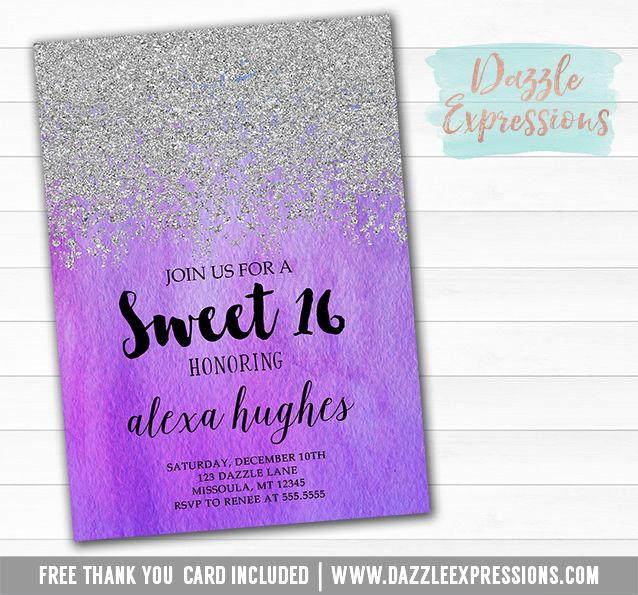 Printable Silver Glitter and Purple Ombre Water color Birthday