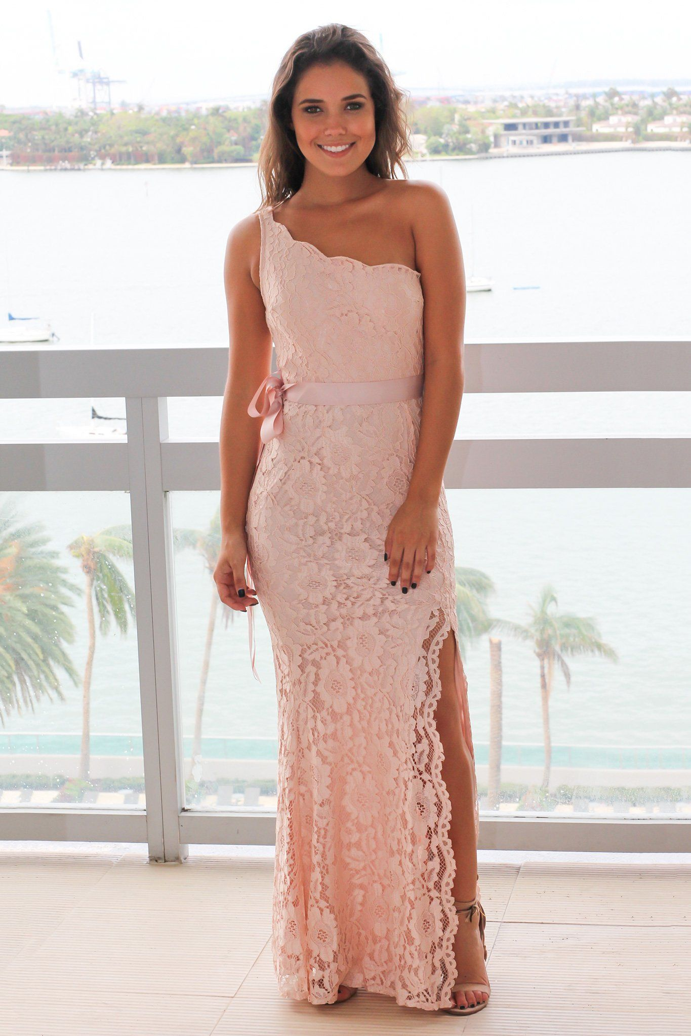 4c5b344bfea4 Blush Lace Single Strap Maxi Dress