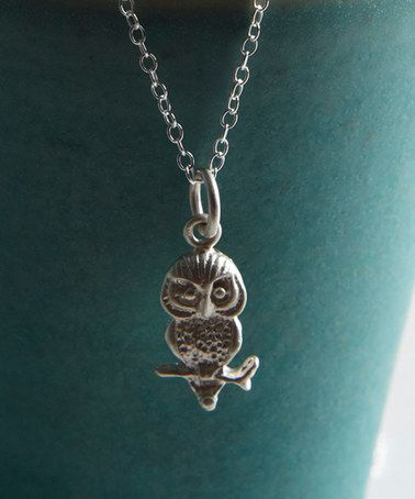 Lily Charmed Sterling Silver Owl Pendant Necklace | Silver