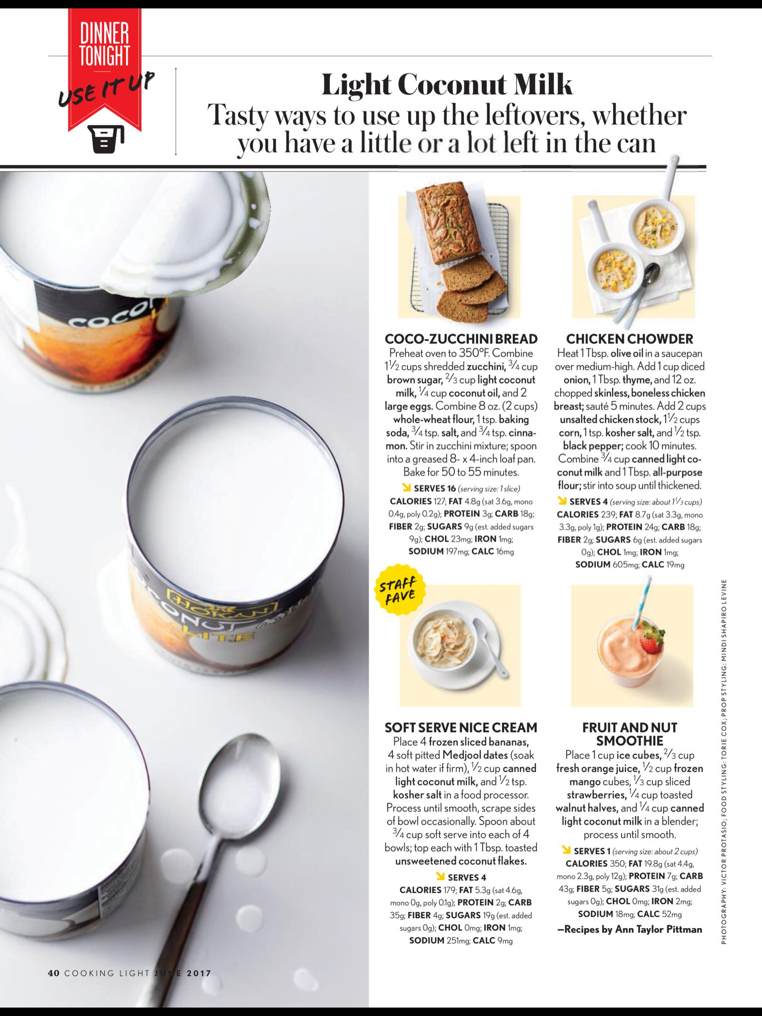 """""""Light Coconut Milk"""" from Cooking Light, June 2017. Read it on the Texture app-unlimited access to 200+ top magazines."""