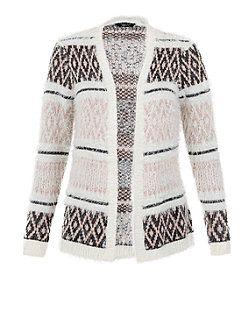 Teens Black Eyelash Aztec Knit Cardigan  | New Look