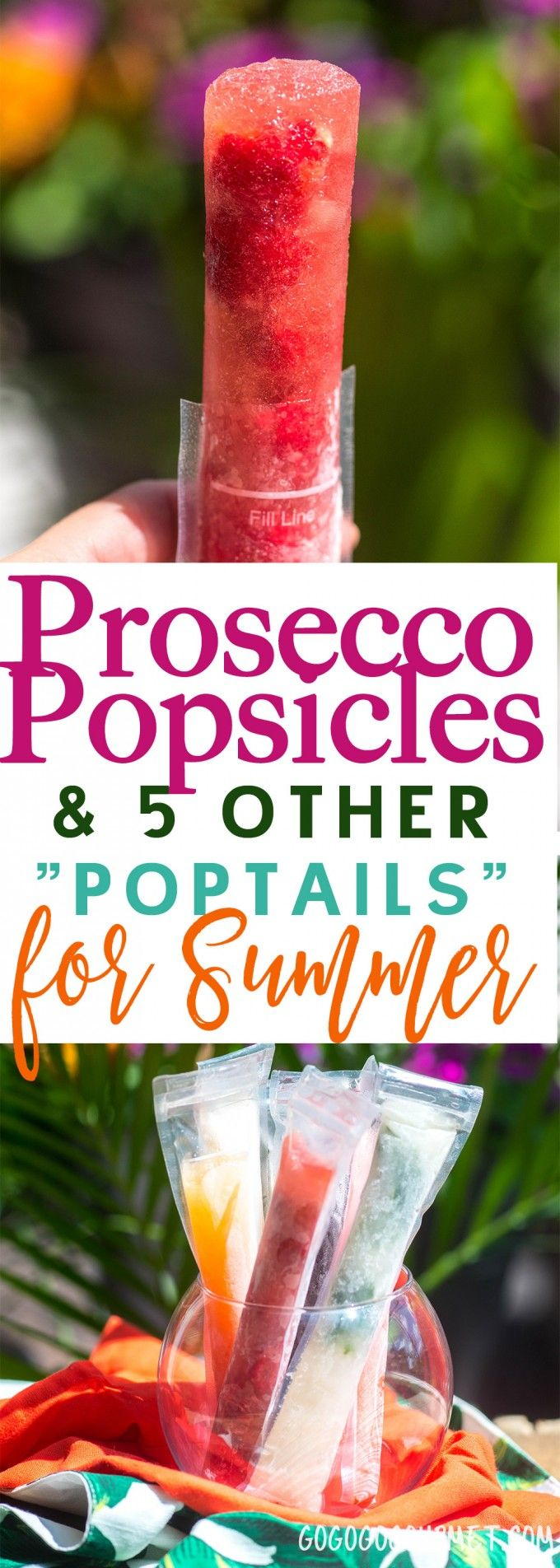 Prosecco Popsicles and FIVE other great Poptails for summer!! Prosecco, Fireball Sangria, Limoncello Sunrise, Mojito, Raspberry Rosé, and Painkiller! via @gogogogourmet #champagnepopsicles