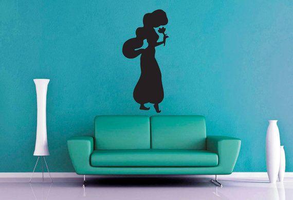 Princess Jasmine Silhouette  Wall Vinyl by WallsOfText on Etsy, $19.95