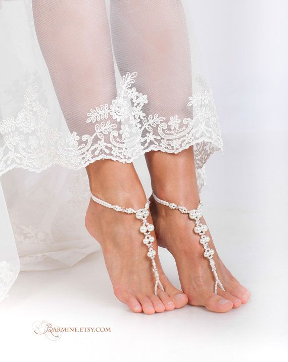 PROMO SALE Bridal foot jewelryPearl and Crystal Beach wedding