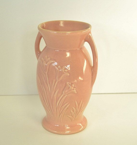 Red Wing Tulips Dusty Rose Vase By Chezumstreasures On Etsy