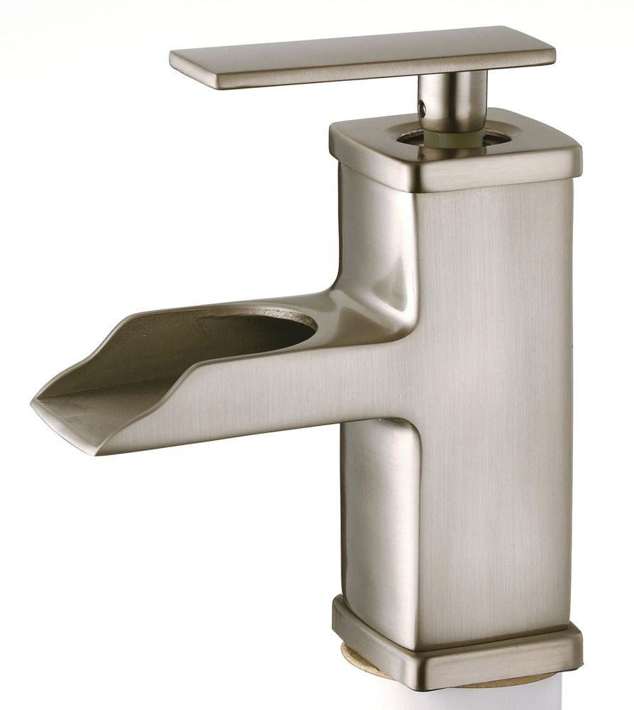 Belle Foret Bfl425sn Single Handle Post Satin Nickel Waterfall Bathroom Faucet