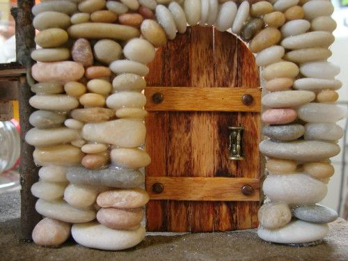 Beach pebble stacked stone fairy house door fairy house How to make a fairy door out of clay
