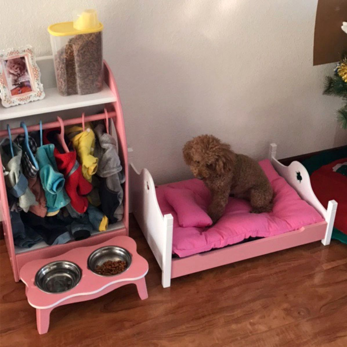 Buy Pet Home Set Pet Wooden Bed Dog Wardrobe Pet Bowl Rack Dog Bed Kennel Princess Bed Cat Bed Cat Supplies In Buytome Com Dog Rooms Puppy Room Dog Closet