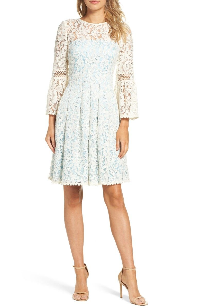 Eliza J - Bell Sleeve Fit   Flare Dress in ivory white and light blue ( petite 54f3888e0