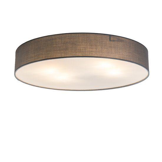 QAZQA Drum Eco 60 - Plafondlamp met lampenkap - 6 lichts - grijs