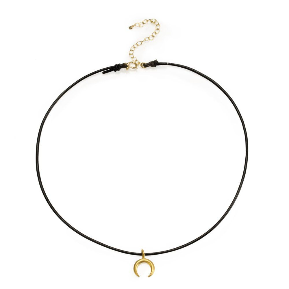"""Dogeared Black Leather Gold Dipped Crescent Moon Choker Necklace. 12.5"""" black leather cord with a 2"""" extender. 14x10mm gold dipped crescent charm. spring ring closure. top layer choker tag packaged in dogeared pouch. made in the u.s.a."""