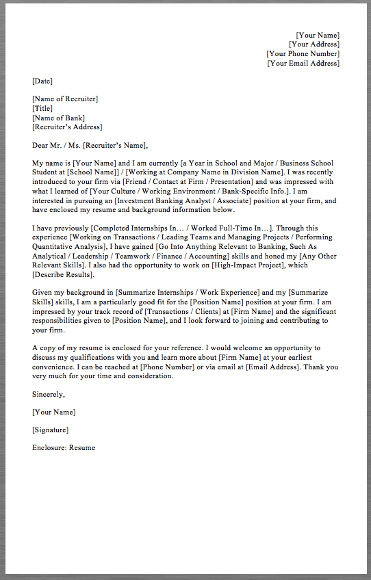 Investment Banking Cover Letter Investment Banking Cover Letter Template Your Name Your Address