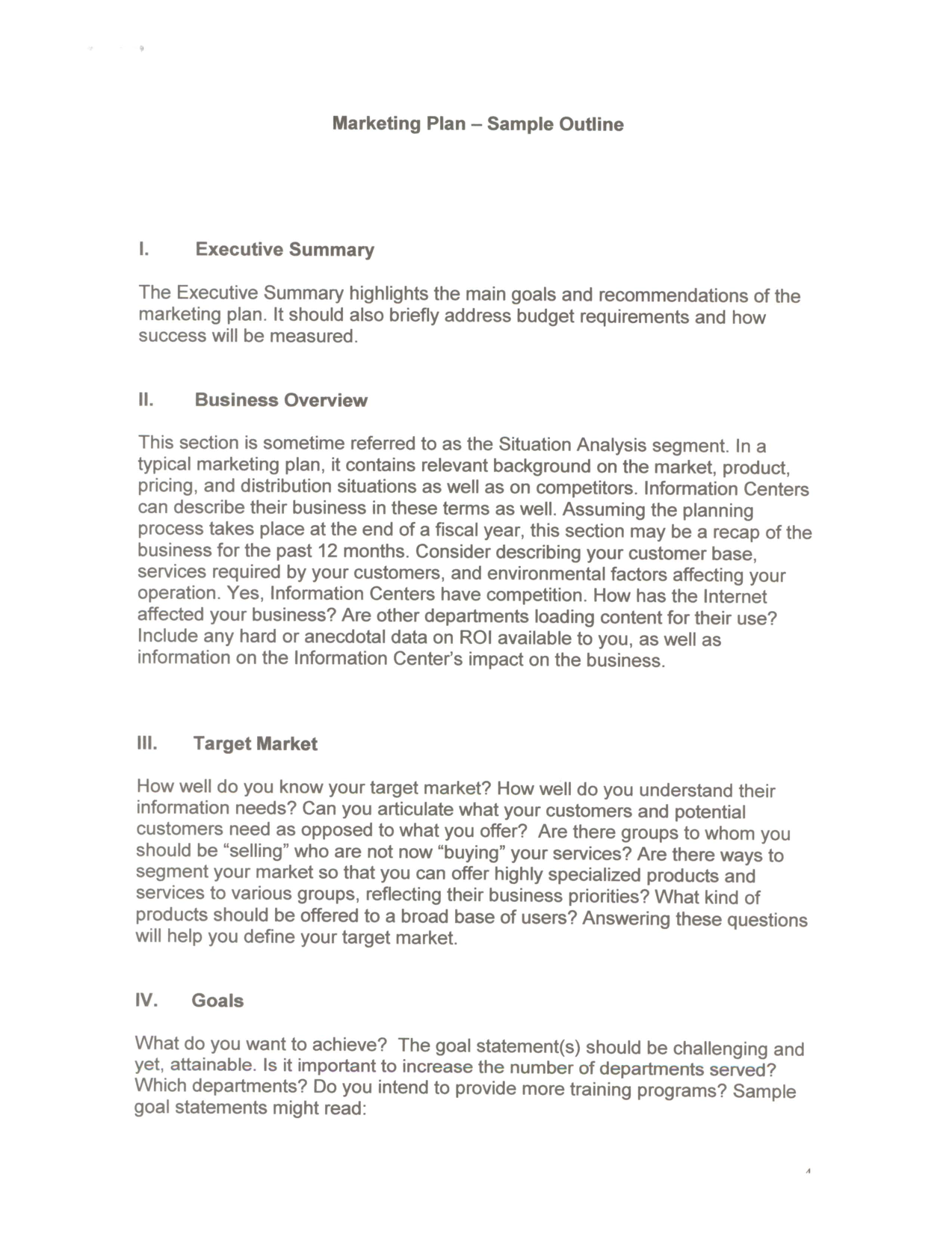 examples of an executive summary marketing plan sample outline i