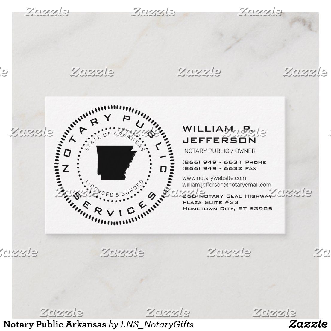 Notary Public Arkansas Business Card in 2020