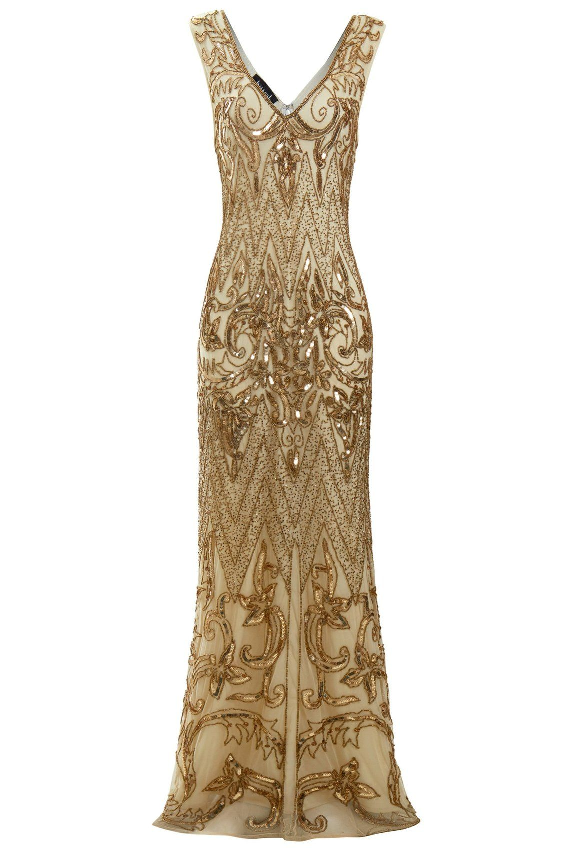 Angie Beaded Flapper 1920s Great Gatsby Inspired Art Deco Etsy Cocktail Evening Dresses Gold Wedding Dress Dresses [ 1710 x 1140 Pixel ]