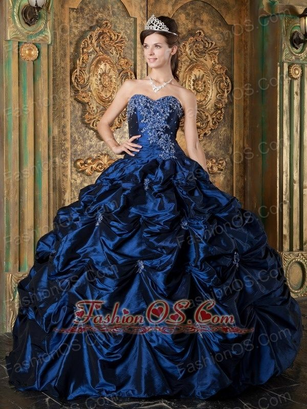 02ebd28f736 Pretty Navy Blue Quinceanera Dress Sweetheart Picks-up Taffeta Ball Gown…