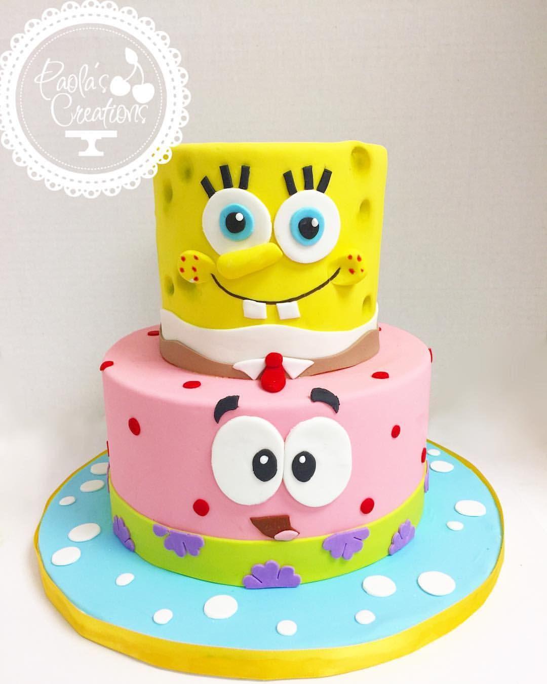 Sensational Sponge Bob And Patrick Inspired Cake Spongebob Personalised Birthday Cards Cominlily Jamesorg