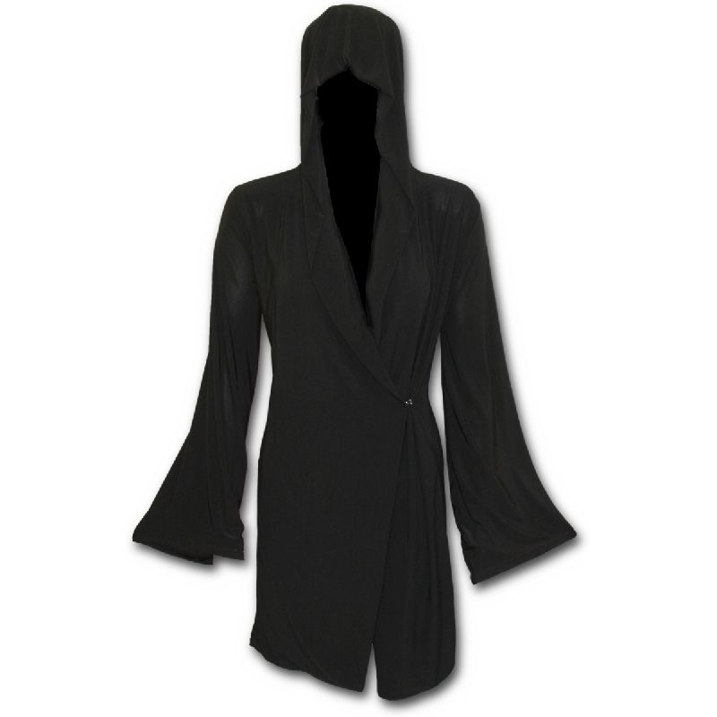 Gothic elegance ohut neuletakki joustavaa trikoota. Kietaisuleikkaus, kiinnitys yhdellä napilla. Jättisuuri huppu & levenevät hihat.   | Plussize | SpiralDirect | Rock | Goth | Black