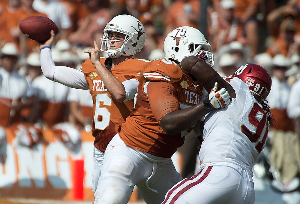 Case McCoy (6) and Trey Hopkins (75) Texas longhorns