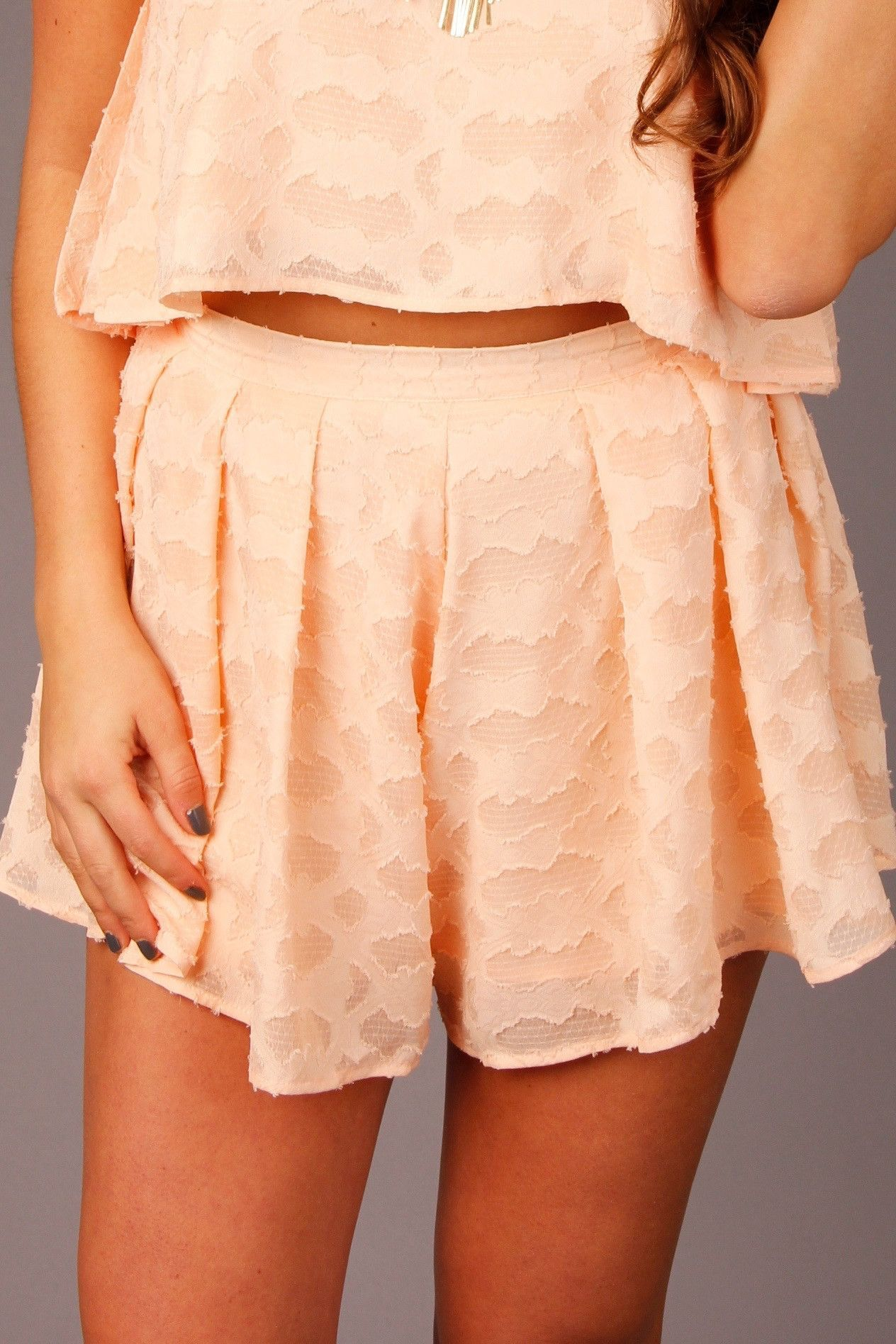 Peach Two Piece Set Shorts