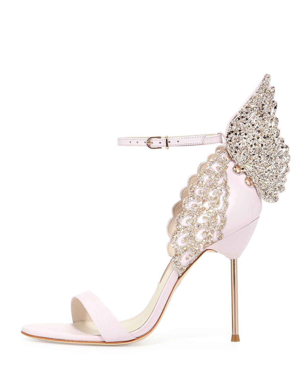 Evangeline Angel Wing Sandal, Pink Glitter