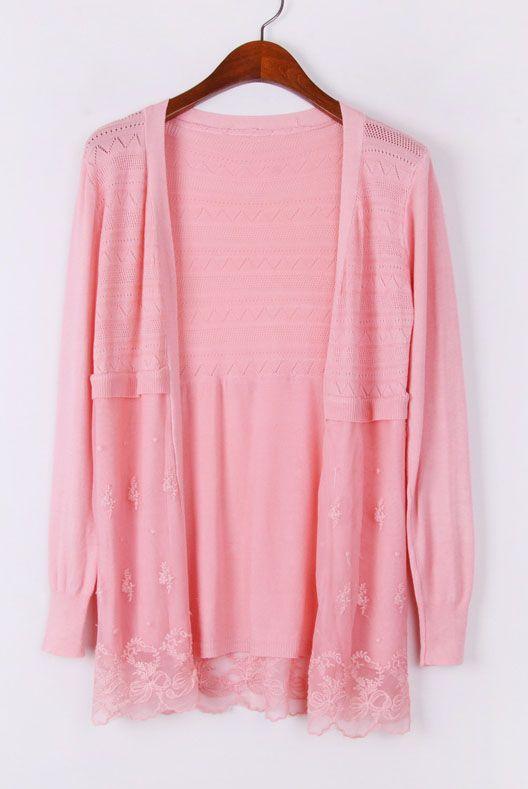 Pink Long Sleeve Contrast Mesh Yoke Cardigan Sweater US$21.47 ...