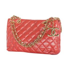 Chanel Red Quilted Shopper