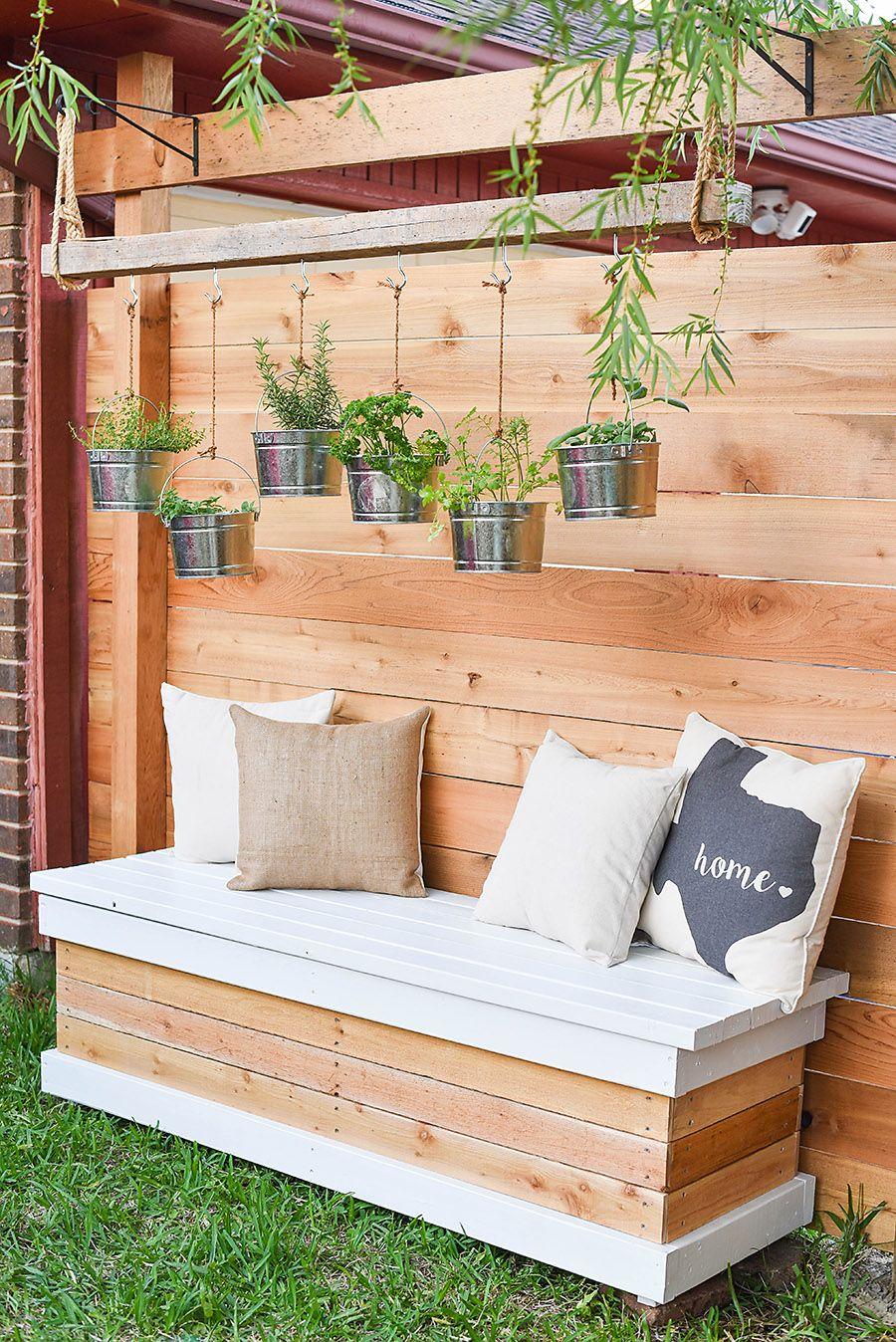 Outdoor Storage Bench DIY Backyard Box with Hidden
