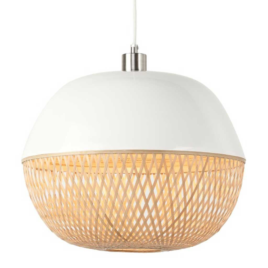 Round white and natural mekong bamboo pendant light pendant