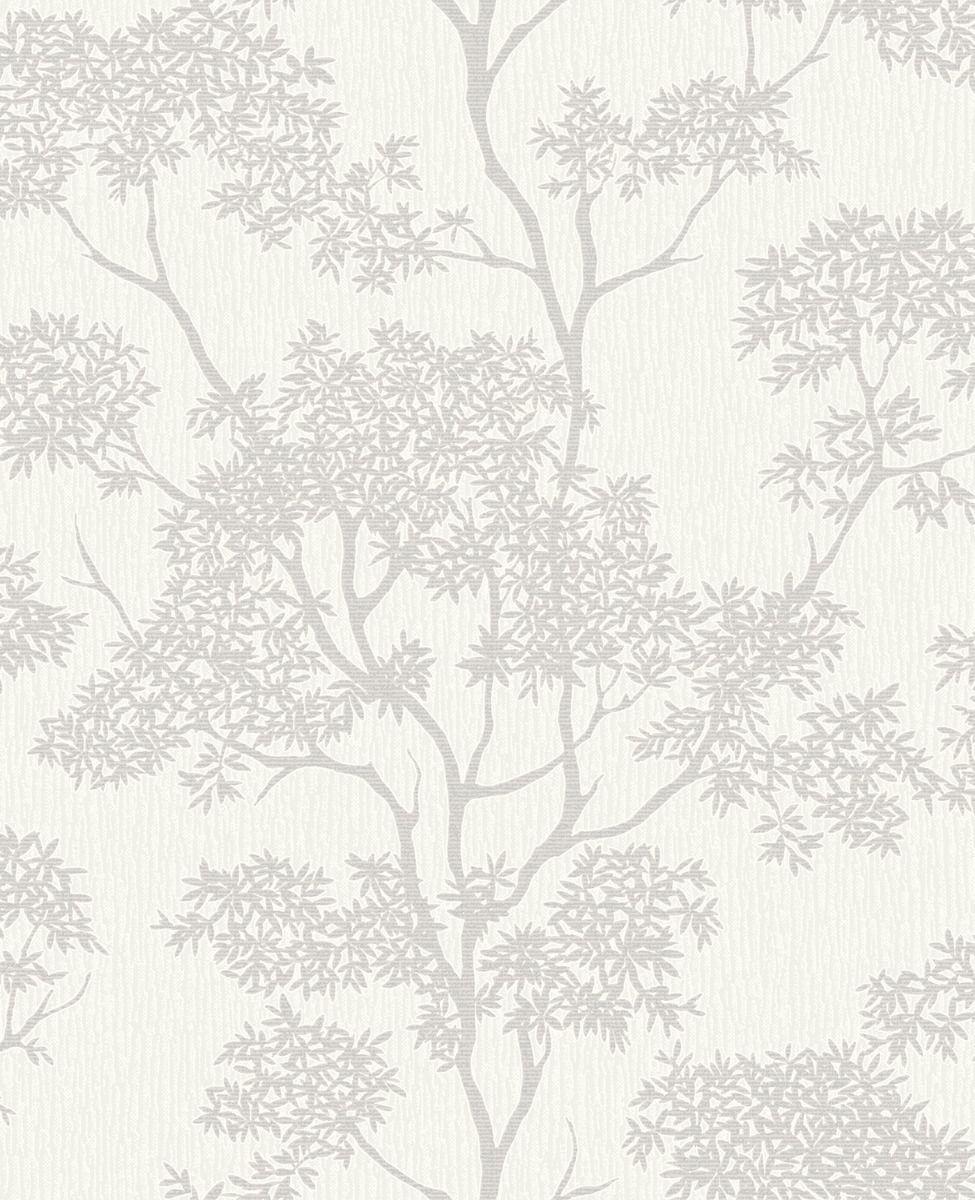 Fine Decor Aspen White Silver Fd40977 Tree Wallpaper Grey