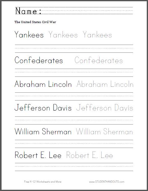 Civil War Spelling and Writing Worksheet - Free to print (PDF file ...