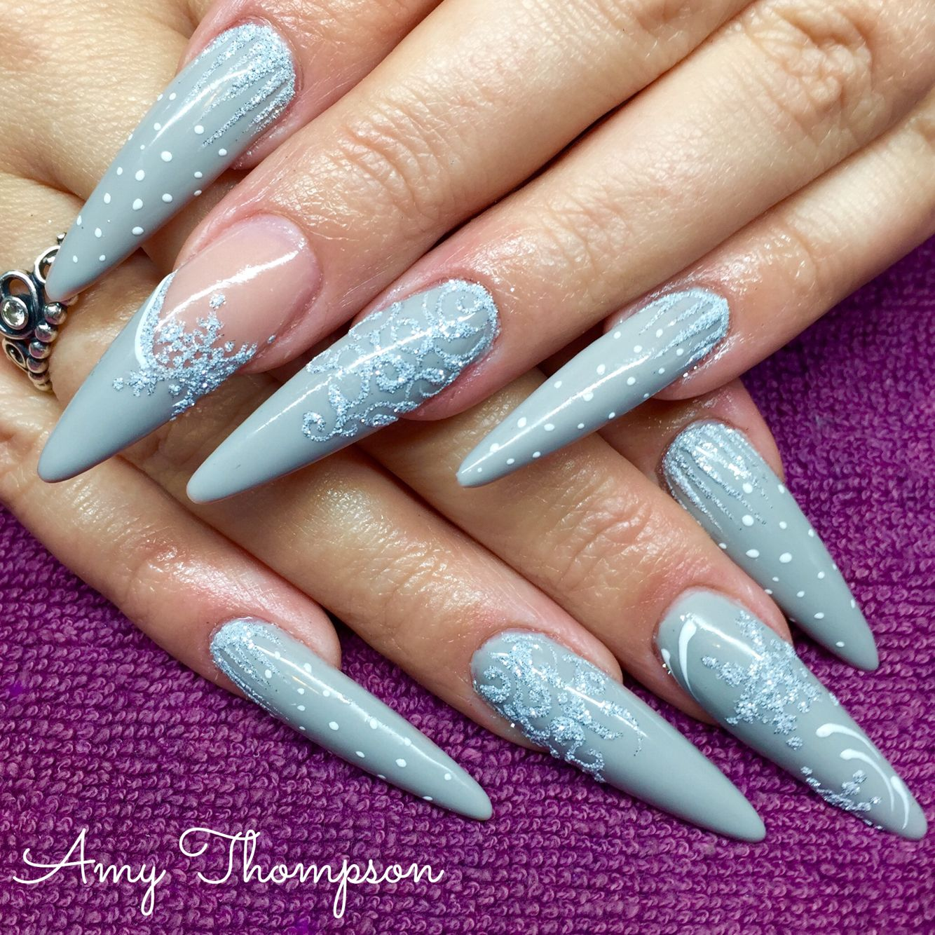 Grey Christmas nails. Snowflakes. Glitter. Freehand nail art design ...