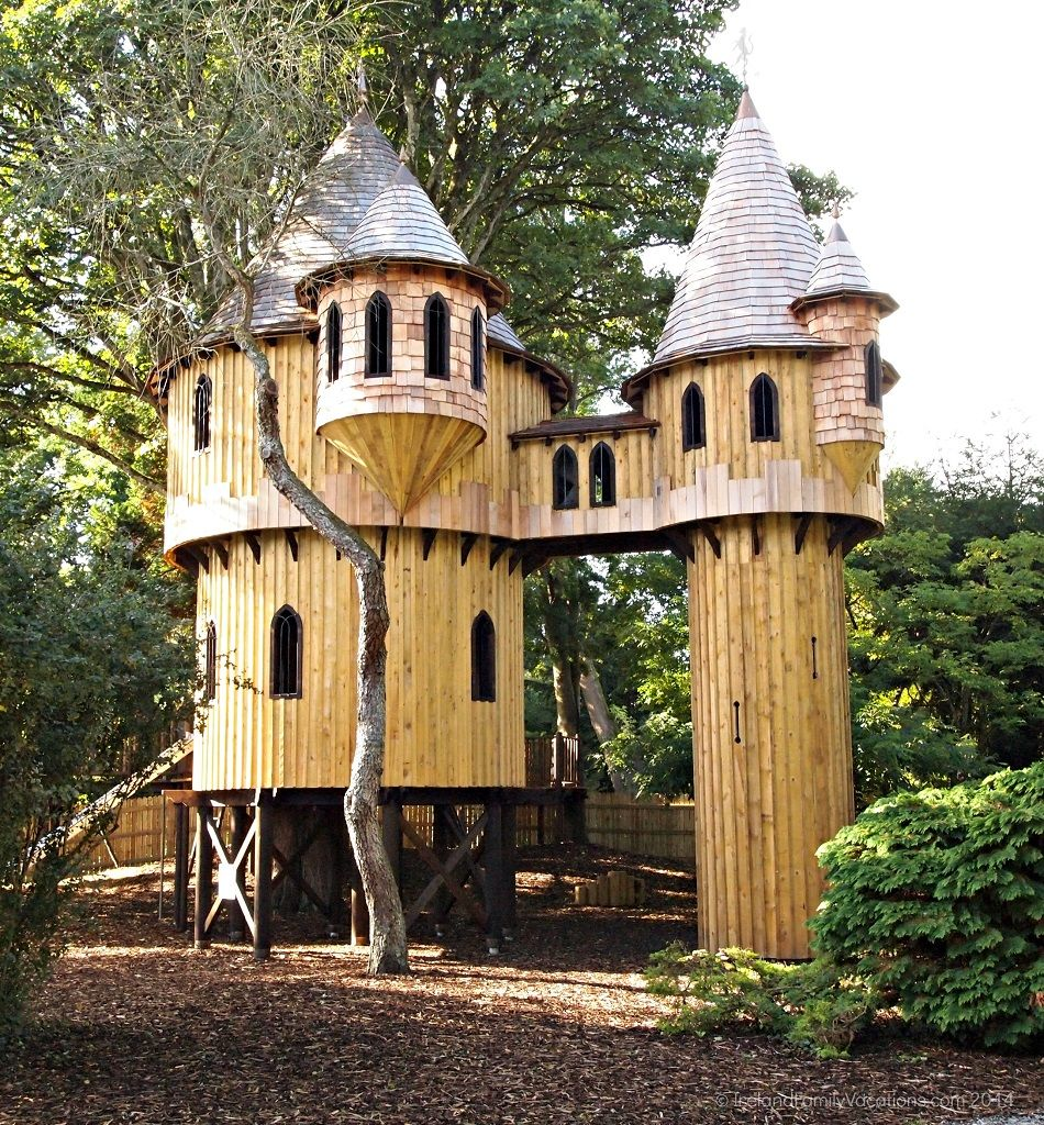 castle tree house with glass windows and a bit of insulation i